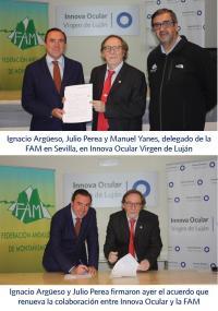 2016 03 02 Ignacio Argüeso y Julio Perea firmaron ayer el acuerdo que renueva la colaboración entre Innova Ocular y la FAM